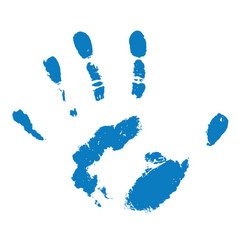 blue human handprint on white vector image