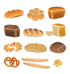 Bread product set Bakery items in flat style vector image