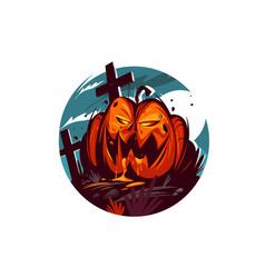 bright evil pumpkin vector image