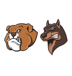 bulldog and german shepherd head mascot vector image