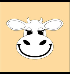 cartoon cow face flat stylefront view vector image