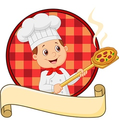 Cartoon pizza chef holding a pizza loading peal vector image