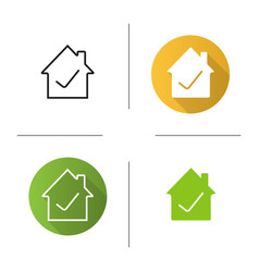 Checked approved house icon vector