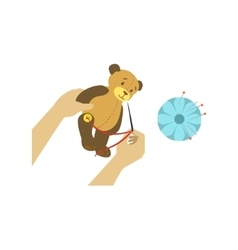 Child Making Toy Bear With Only Hands vector image