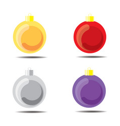 christmas ball yellow red silver purple vector image