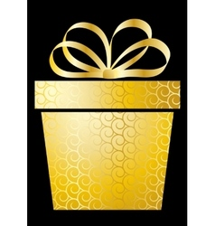 Christmas with gift box on gold vector image