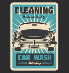 Cleaning car vintage poster vector