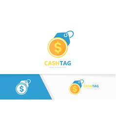 coin and tag logo combination money and vector image