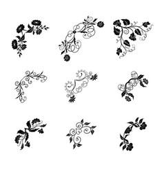 collection floral black corner vector image