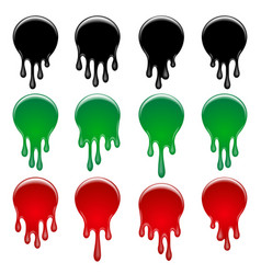 colorful paint drips sticker set vector image