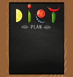 concept of diet on the chalkboard vector image