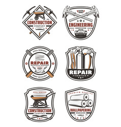 Construction company retro badge with repair tool vector