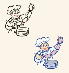 cook with sausages and pan vector image