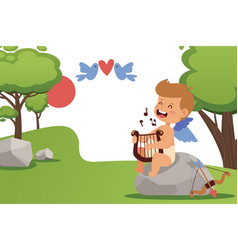 cupid baby boy singing and playing angel harp vector image