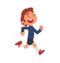 Cute happy boy running preschool kid daily vector