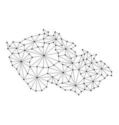 Czech republic map of polygonal mosaic lines vector