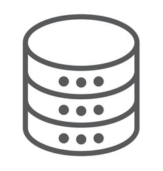 Database line icon data and analytics server vector