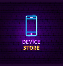 device store neon label vector image