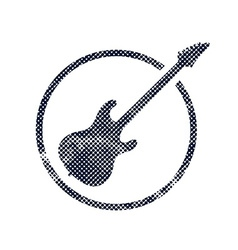 Electric guitar icon with halftone dots print vector