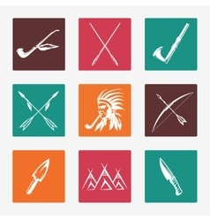 Ethnic native american indians icons vector