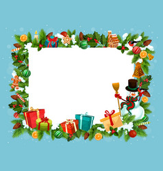 festive frame of spruce for christmas holiday vector image