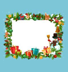 Festive frame spruce for christmas holiday vector