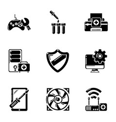 Fix computer icons set simple style vector