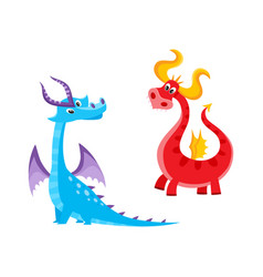 flat cartoon dragons with horns wings set vector image