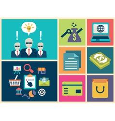 Flat design of e-commerce symbols vector image vector image