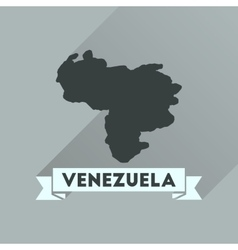 Flat icon with long shadow map of Venezuela vector