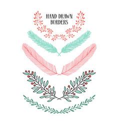 Floral design elements set with laurels vector