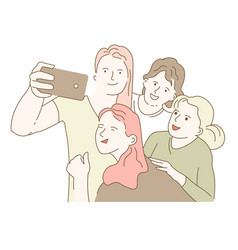Four young women taking a group selfie on vector