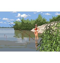 girl in a bathing suit is fishing on the river vector image