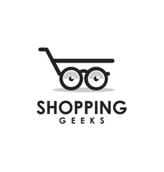 Glasses and trolley shopping logo vector