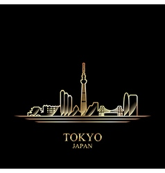 Gold silhouette of Tokyo on black background vector image