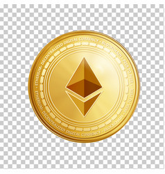 Golden ethereum coin symbol vector
