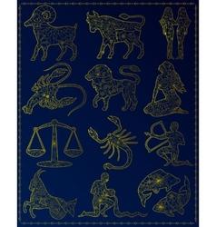Golden zodiac signs vector image