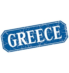 Greece blue square grunge retro style sign vector