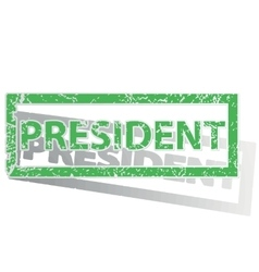 Green outlined PRESIDENT stamp vector image