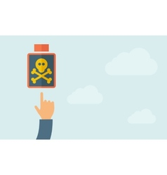 Hand pointing to a poisonous bottle icon vector image
