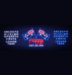 Happy australia day neon sign neon banner vector