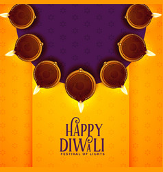 Happy diwali background with diya decoration vector