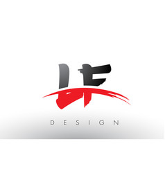Lf l f brush logo letters with red and black vector