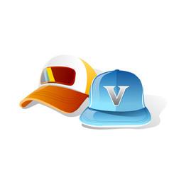 light blue orange cap vector image