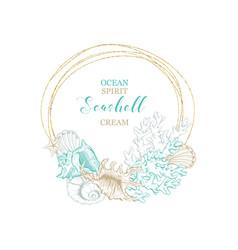 Marine seashell cream organic water cosmetics vector