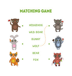 matching game hedgehog wild boar wolf fox vector image