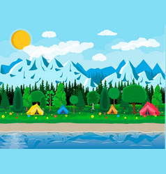 Meadow with grass and camping lake vector
