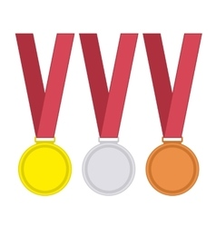 Medal set in flat style vector image