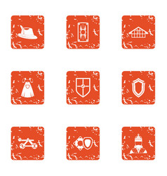 medieval town icons set grunge style vector image