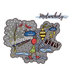 melancholy doodle vector image